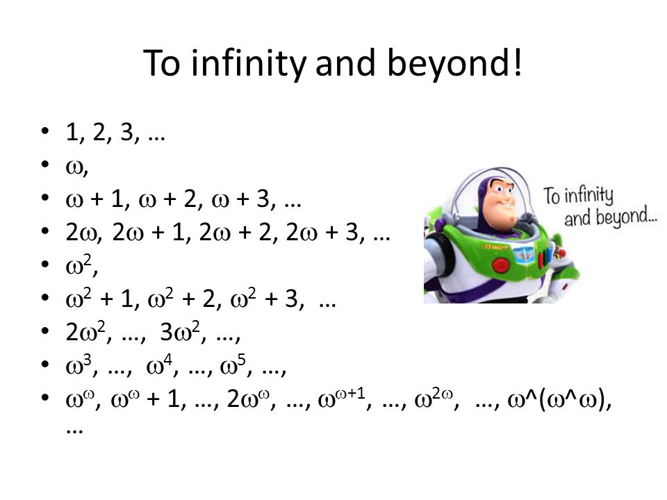 To infinity and beyond! 1, 2, 3, … ,  + 1,  + 2,  + 3, … 2 , 2  + 1, 2  + 2, 2  + 3, …  2,  2 + 1,  2 + 2,  2 + 3, … 2  2, …, 3  2, …, 