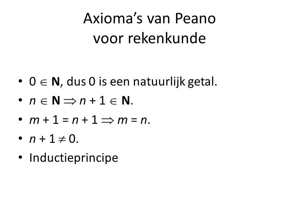 Axioma's van Peano voor rekenkunde 0  N, dus 0 is een natuurlijk getal.