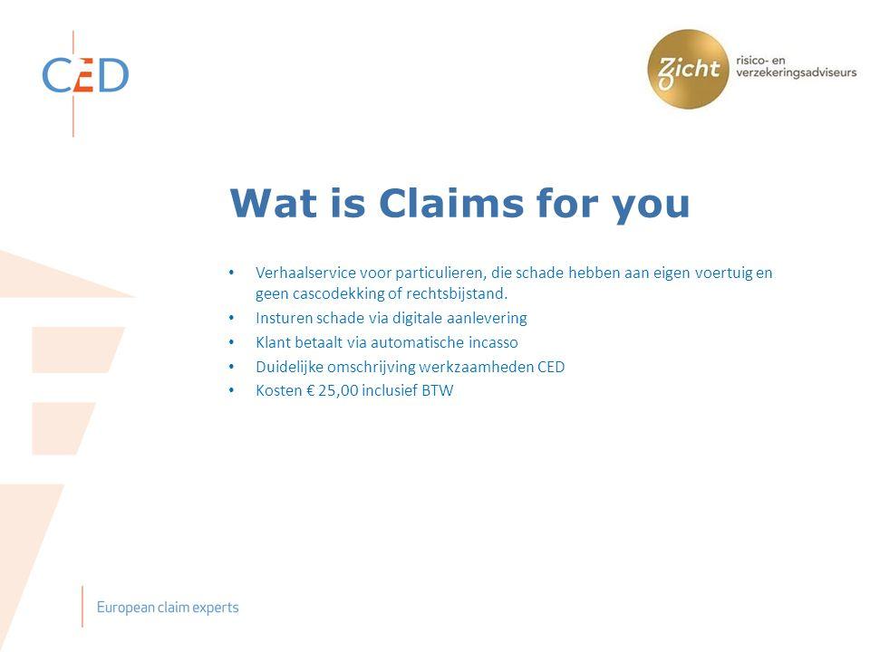 Wat is Claims for you Verhaalservice voor particulieren, die schade hebben aan eigen voertuig en geen cascodekking of rechtsbijstand.