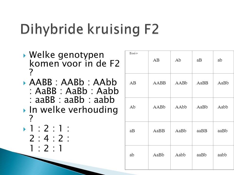  Welke genotypen komen voor in de F2 .