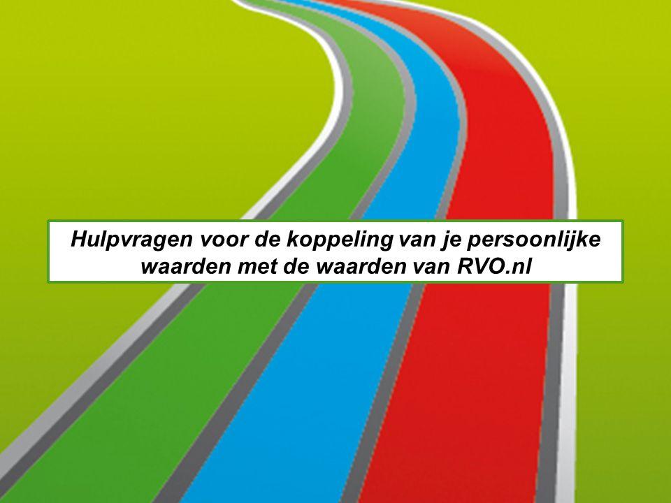 Hulpvragen voor de koppeling van je persoonlijke waarden met de waarden van RVO.nl