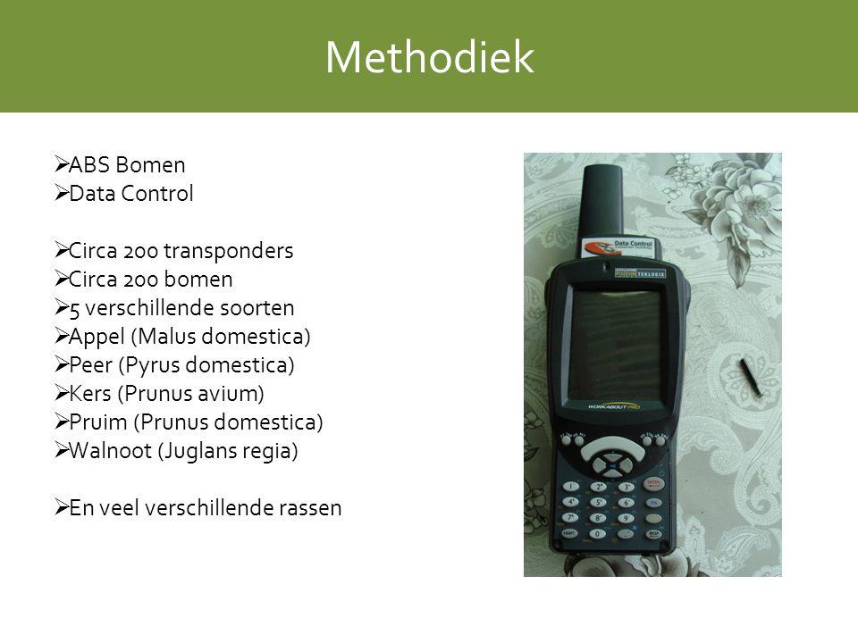 Methodiek  ABS Bomen  Data Control  Circa 200 transponders  Circa 200 bomen  5 verschillende soorten  Appel (Malus domestica)  Peer (Pyrus domestica)  Kers (Prunus avium)  Pruim (Prunus domestica)  Walnoot (Juglans regia)  En veel verschillende rassen