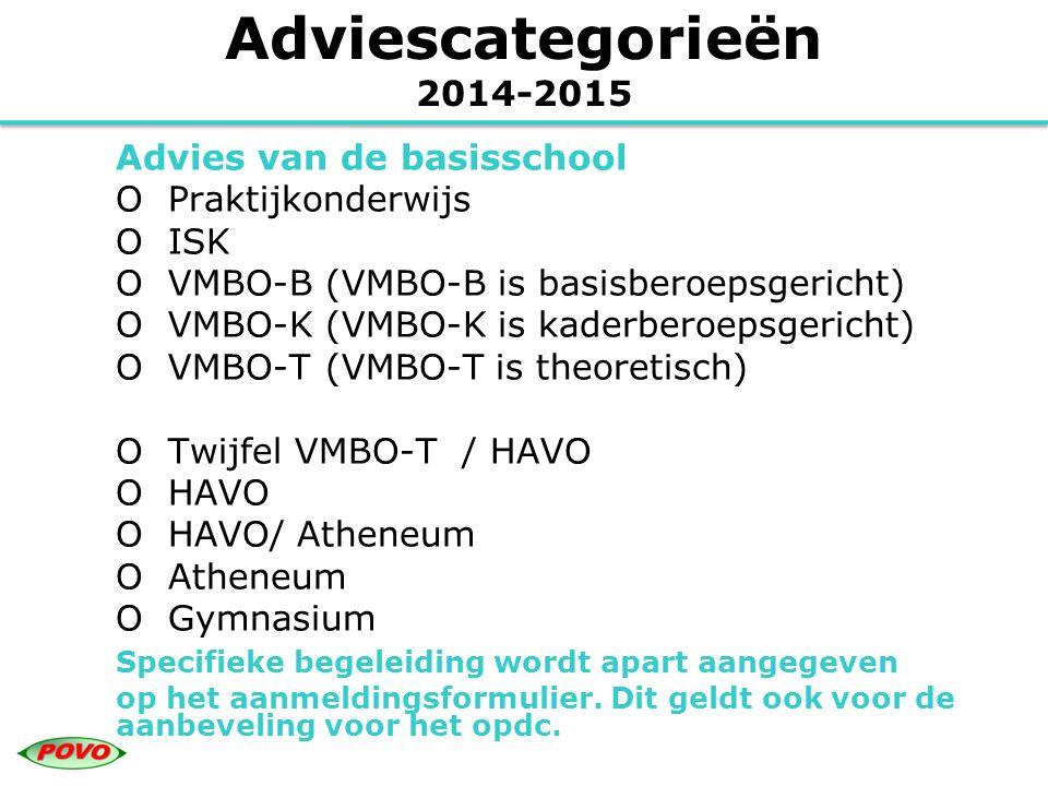 Adviescategorieën 2014-2015 Advies van de basisschool O Praktijkonderwijs O ISK O VMBO-B (VMBO-B is basisberoepsgericht) O VMBO-K (VMBO-K is kaderbero