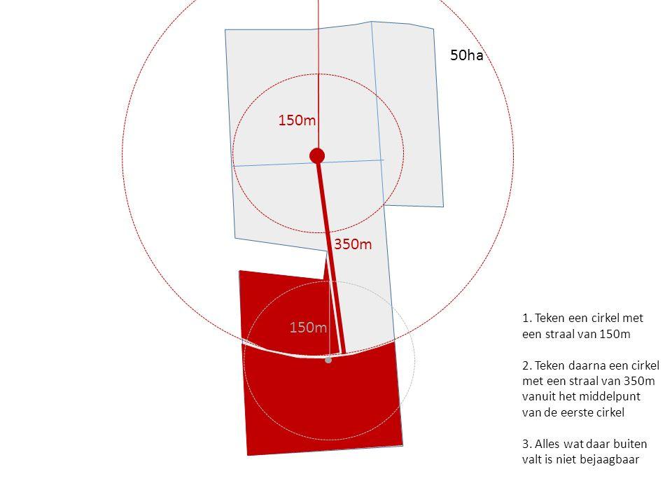 150m 50ha 350m 150m 1. Teken een cirkel met een straal van 150m 2. Teken daarna een cirkel met een straal van 350m vanuit het middelpunt van de eerste
