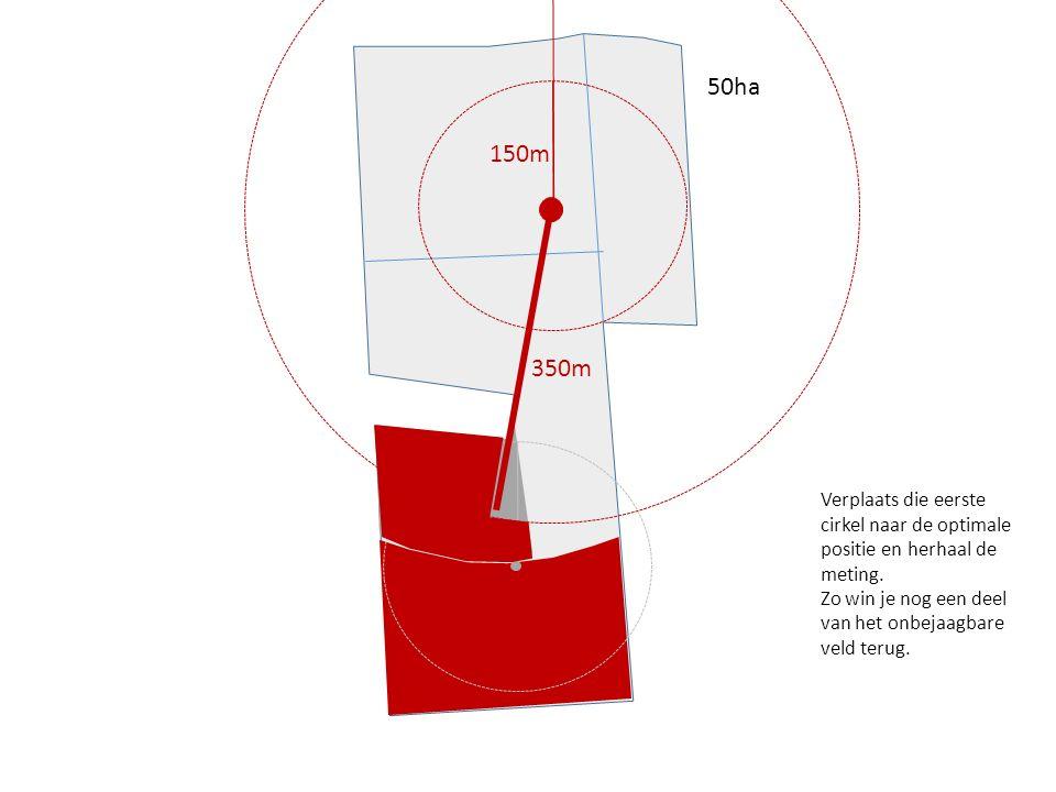 150m 50ha 150m 350m Verplaats die eerste cirkel naar de optimale positie en herhaal de meting. Zo win je nog een deel van het onbejaagbare veld terug.