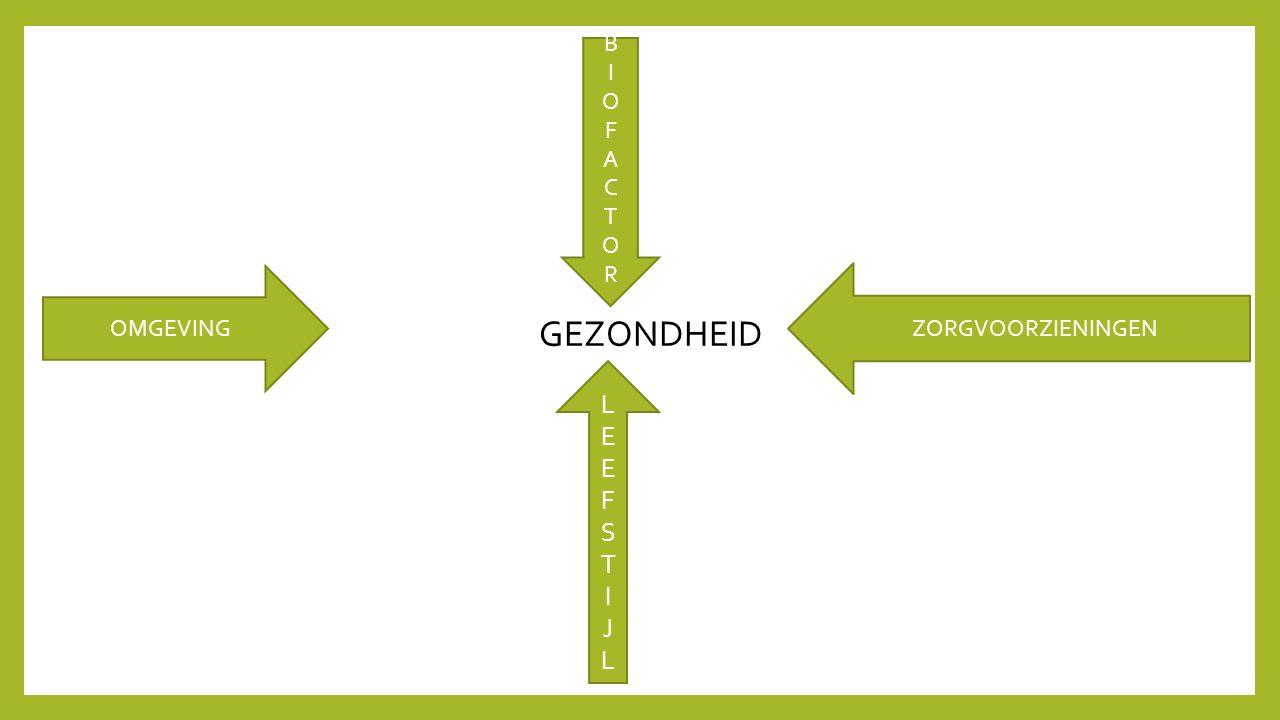 OMGEVING GEZONDHEID ZORGVOORZIENINGEN BIOFACTORBIOFACTOR LEEFSTIJLLEEFSTIJL