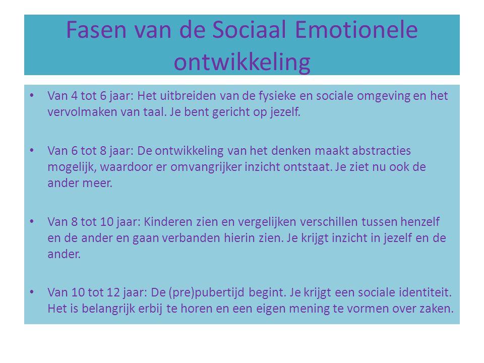 Fasen van de Sociaal Emotionele ontwikkeling Van 4 tot 6 jaar: Het uitbreiden van de fysieke en sociale omgeving en het vervolmaken van taal.