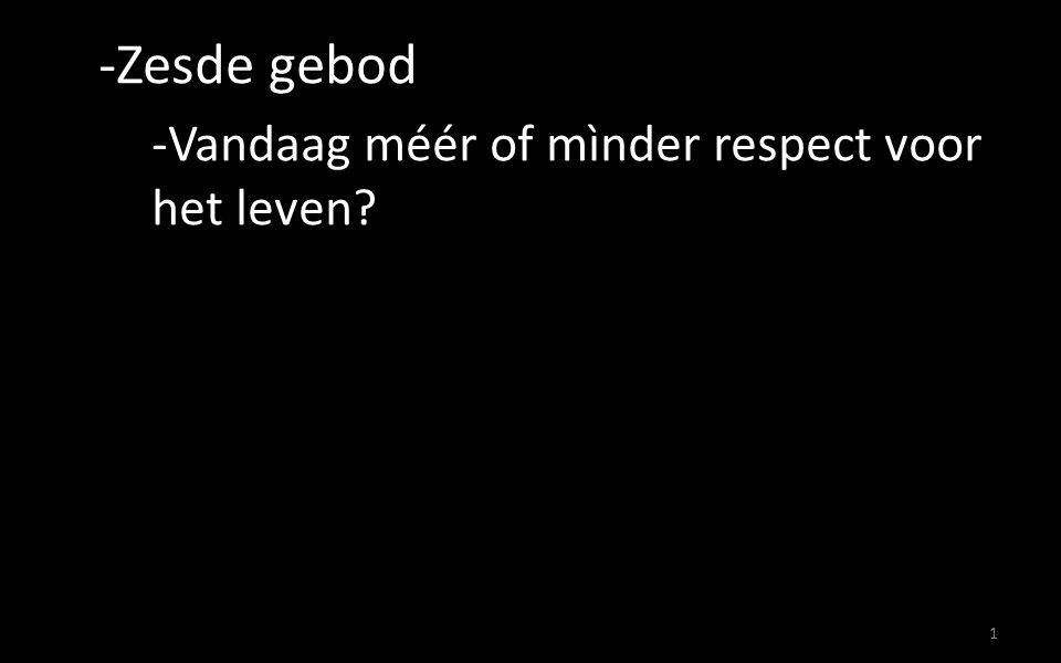 1 -Zesde gebod -Vandaag méér of mìnder respect voor het leven?