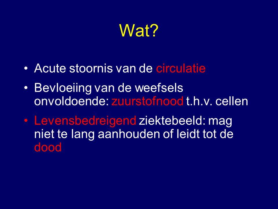 Wat. Acute stoornis van de circulatie Bevloeiing van de weefsels onvoldoende: zuurstofnood t.h.v.