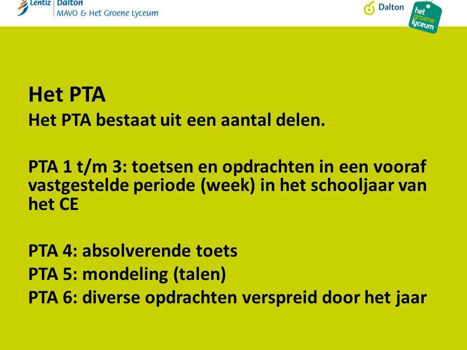 Het PTA Het PTA bestaat uit een aantal delen.