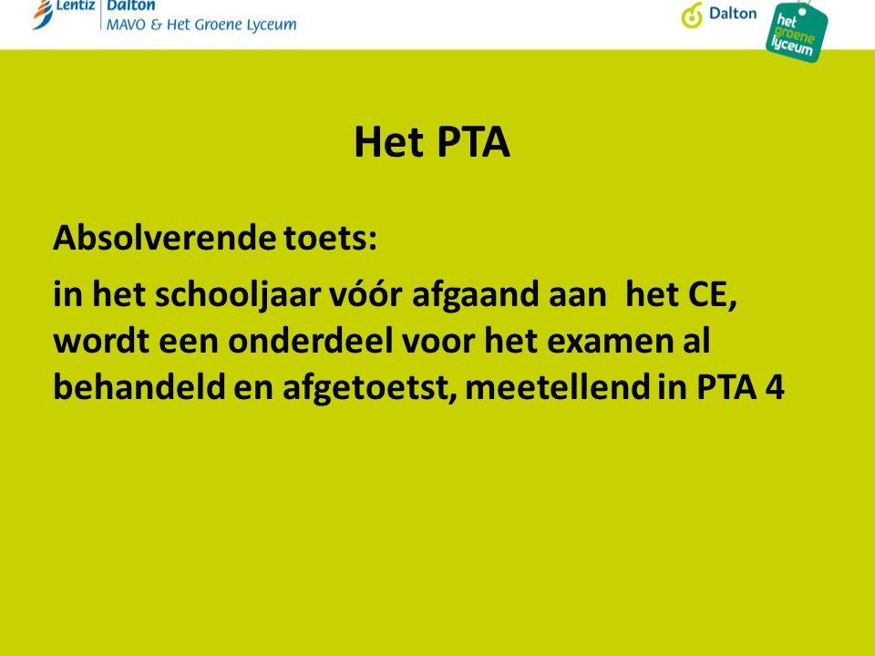 Het PTA Absolverende toets: in het schooljaar vóór afgaand aan het CE, wordt een onderdeel voor het examen al behandeld en afgetoetst, meetellend in PTA 4