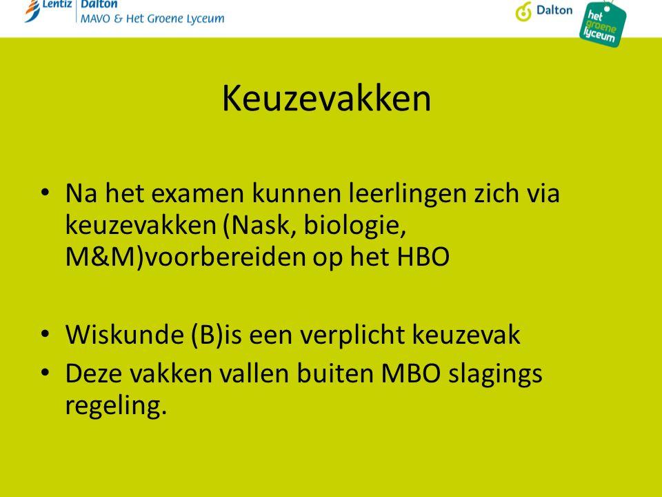 Keuzevakken Na het examen kunnen leerlingen zich via keuzevakken (Nask, biologie, M&M)voorbereiden op het HBO Wiskunde (B)is een verplicht keuzevak Deze vakken vallen buiten MBO slagings regeling.