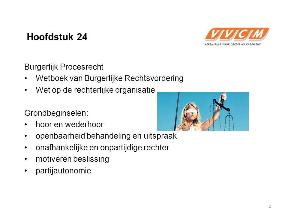 Hoofdstuk 24 Burgerlijk Procesrecht Wetboek van Burgerlijke Rechtsvordering Wet op de rechterlijke organisatie Grondbeginselen: hoor en wederhoor open