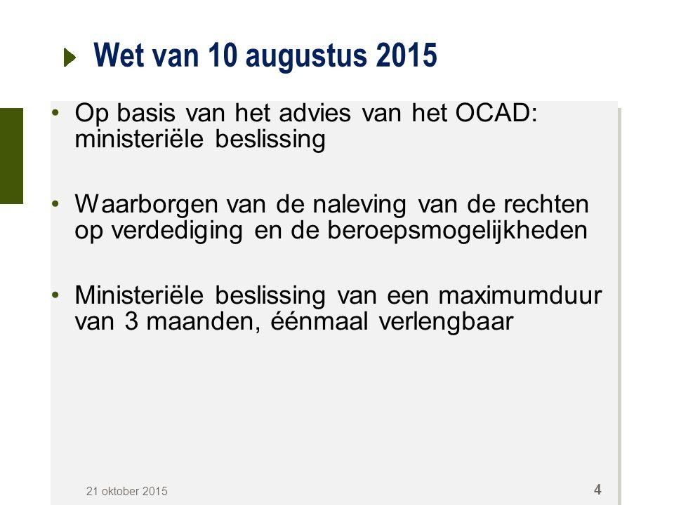 Wet van 10 augustus 2015 Op basis van het advies van het OCAD: ministeriële beslissing Waarborgen van de naleving van de rechten op verdediging en de