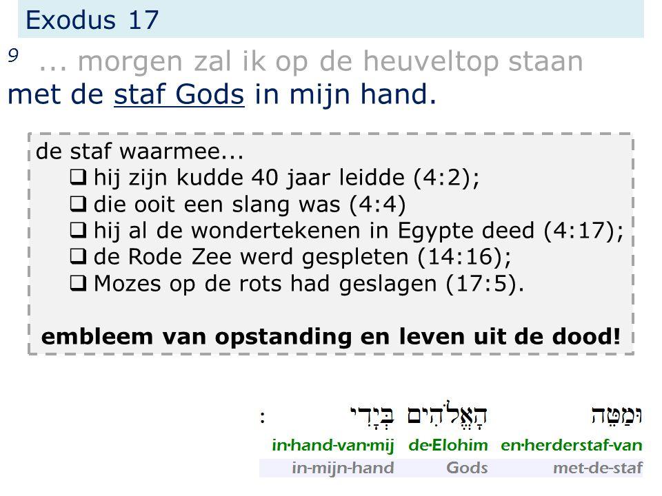 Exodus 17 9... morgen zal ik op de heuveltop staan met de staf Gods in mijn hand.