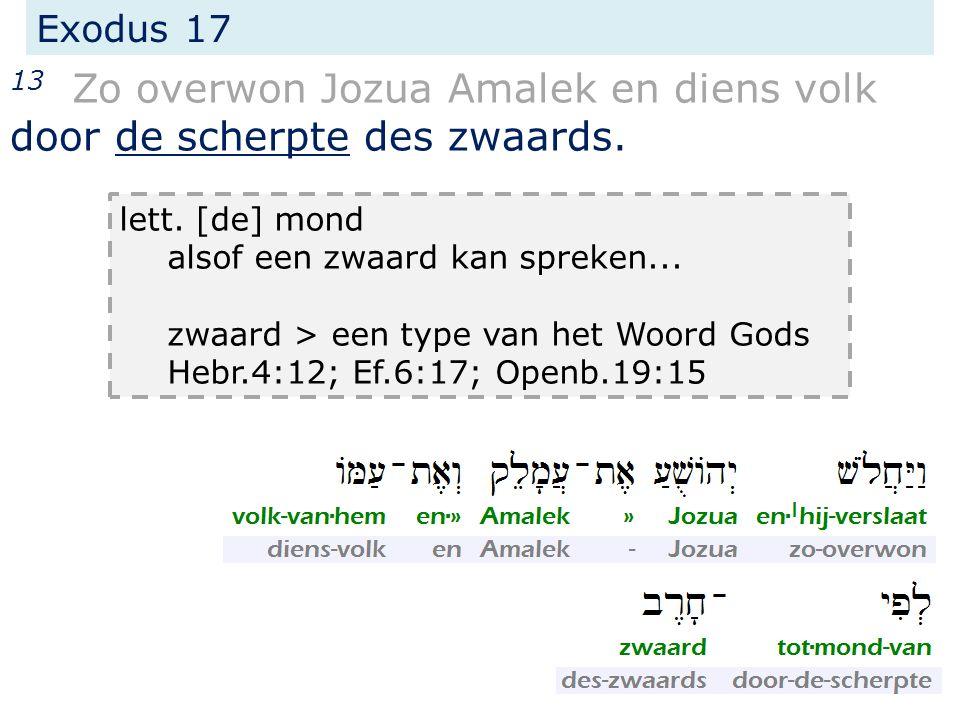 Exodus 17 13 Zo overwon Jozua Amalek en diens volk door de scherpte des zwaards. lett. [de] mond alsof een zwaard kan spreken... zwaard > een type van