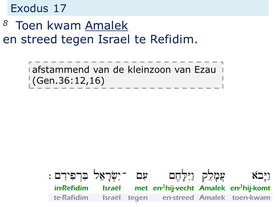 Exodus 17 8 Toen kwam Amalek en streed tegen Israel te Refidim. Deuteronomium 25 over deze aanval >