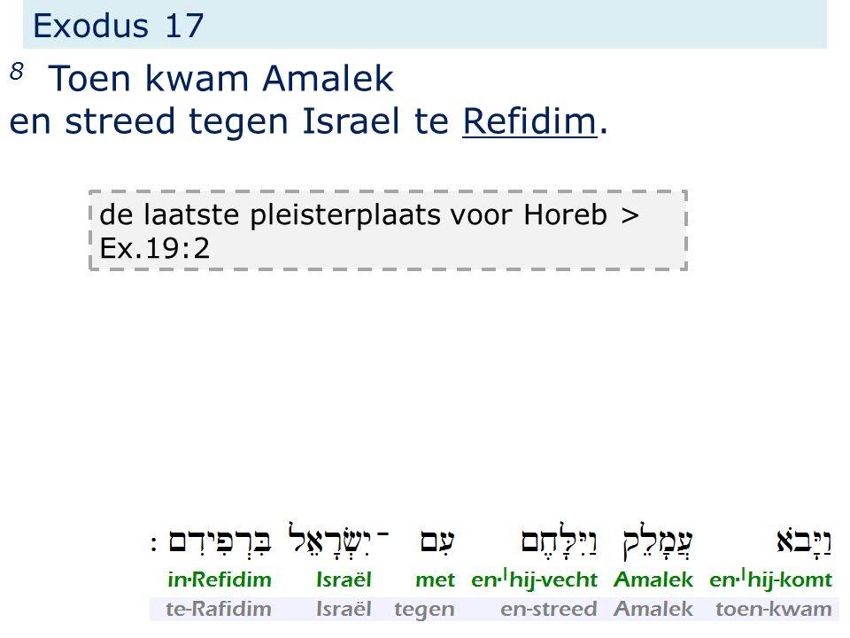 Exodus 17 8 Toen kwam Amalek en streed tegen Israel te Refidim. de laatste pleisterplaats voor Horeb > Ex.19:2