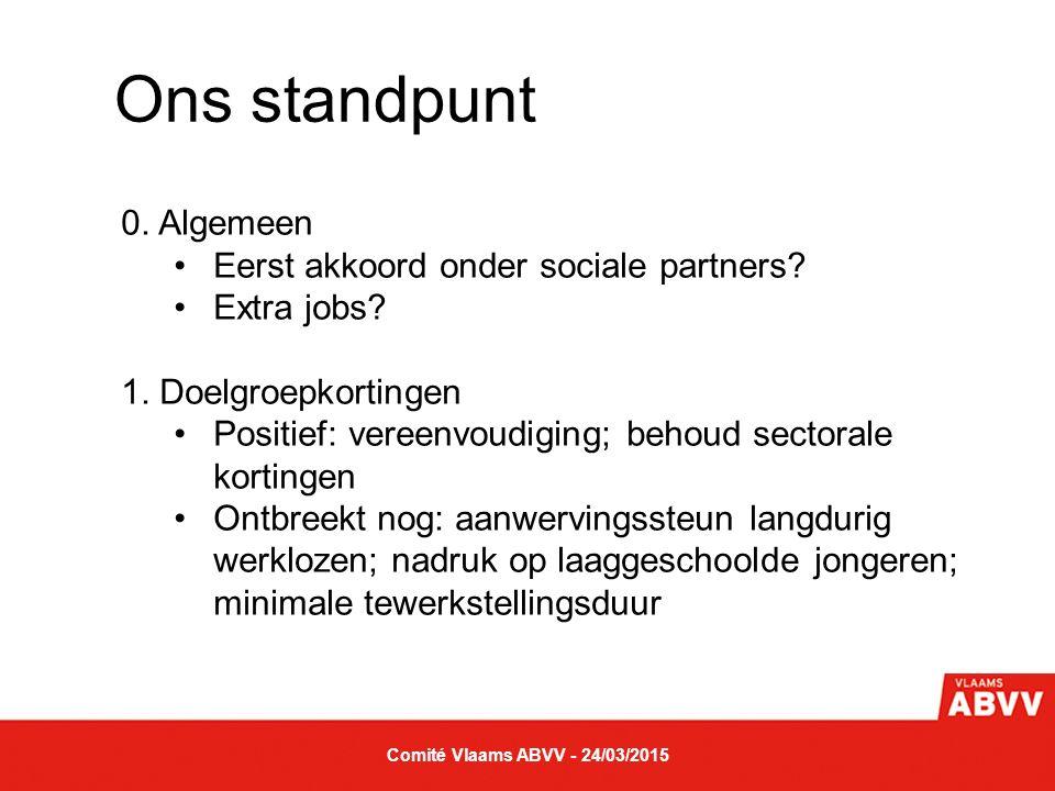 Ons standpunt 0. Algemeen Eerst akkoord onder sociale partners.