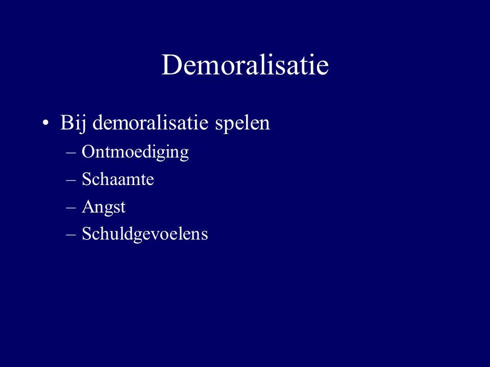 Demoralisatie Bij demoralisatie spelen –Ontmoediging –Schaamte –Angst –Schuldgevoelens