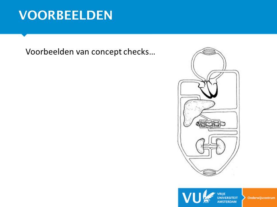 Voorbeelden van concept checks… VOORBEELDEN