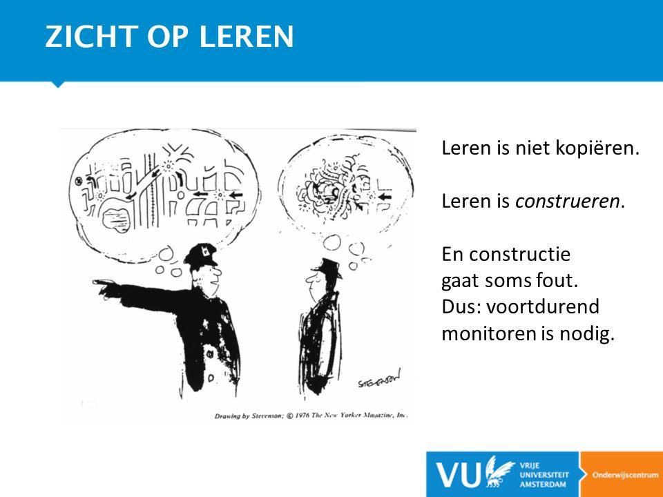 Leren is niet kopiëren. Leren is construeren. En constructie gaat soms fout. Dus: voortdurend monitoren is nodig. ZICHT OP LEREN
