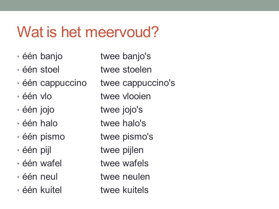 Wat is het meervoud.