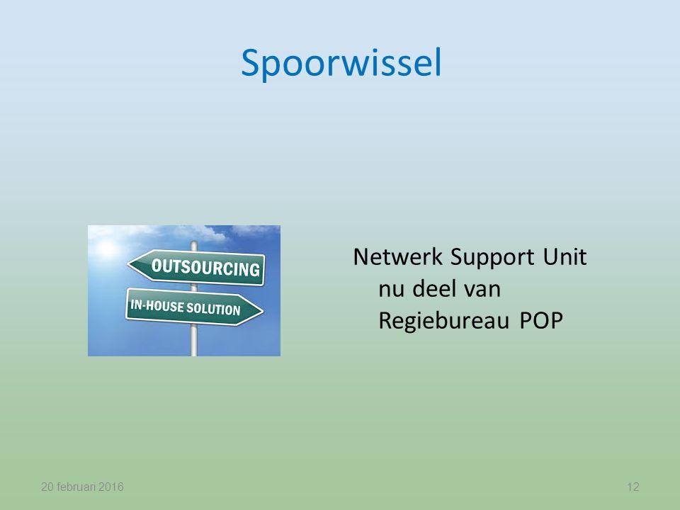 Spoorwissel Netwerk Support Unit nu deel van Regiebureau POP 20 februari 201612