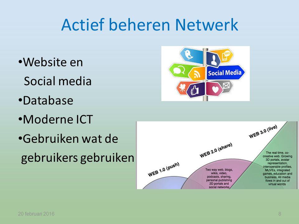 Actief beheren Netwerk Website en Social media Database Moderne ICT Gebruiken wat de gebruikers gebruiken 20 februari 20168