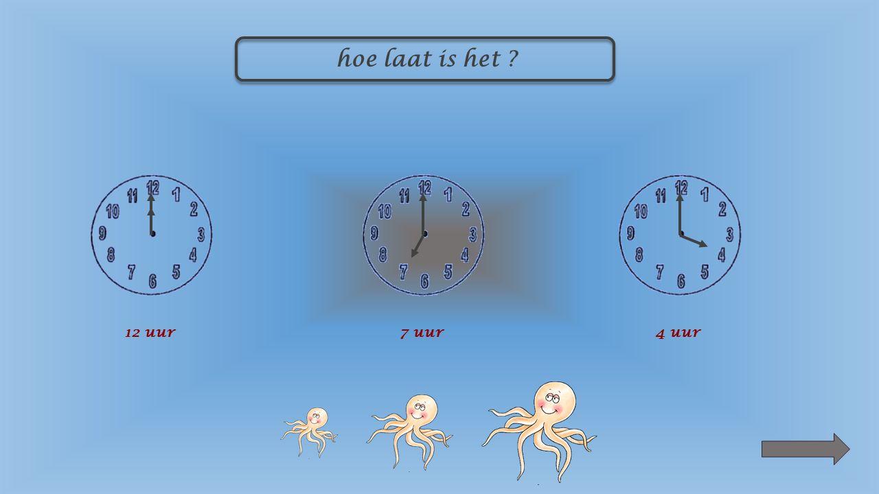 hoe laat is het ? 12 uur7 uur4 uur