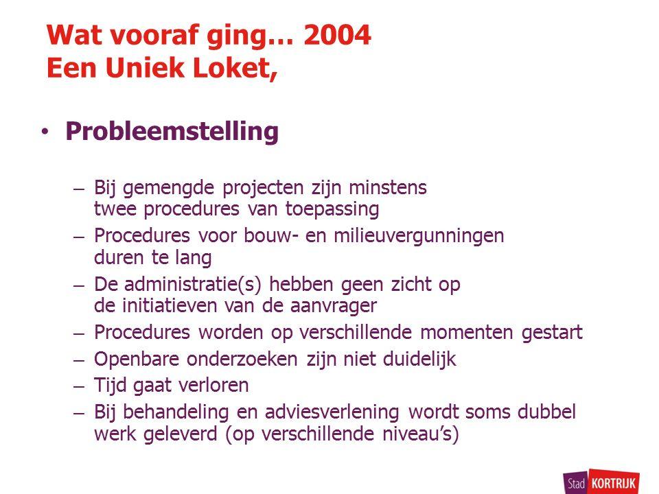 Probleemstelling – Bij gemengde projecten zijn minstens twee procedures van toepassing – Procedures voor bouw- en milieuvergunningen duren te lang – De administratie(s) hebben geen zicht op de initiatieven van de aanvrager – Procedures worden op verschillende momenten gestart – Openbare onderzoeken zijn niet duidelijk – Tijd gaat verloren – Bij behandeling en adviesverlening wordt soms dubbel werk geleverd (op verschillende niveau's) Wat vooraf ging… 2004 Een Uniek Loket,