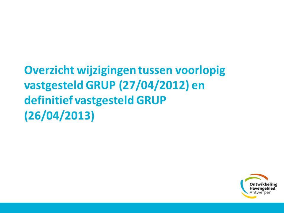 Overzicht wijzigingen tussen voorlopig vastgesteld GRUP (27/04/2012) en definitief vastgesteld GRUP (26/04/2013)