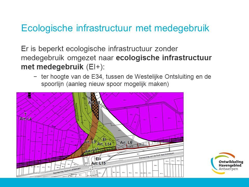 Ecologische infrastructuur met medegebruik Er is beperkt ecologische infrastructuur zonder medegebruik omgezet naar ecologische infrastructuur met med