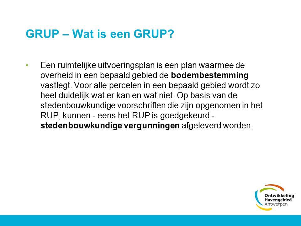 GRUP – Wat is een GRUP? Een ruimtelijke uitvoeringsplan is een plan waarmee de overheid in een bepaald gebied de bodembestemming vastlegt. Voor alle p