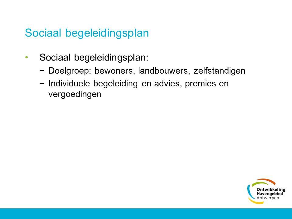 Sociaal begeleidingsplan Sociaal begeleidingsplan: −Doelgroep: bewoners, landbouwers, zelfstandigen −Individuele begeleiding en advies, premies en ver