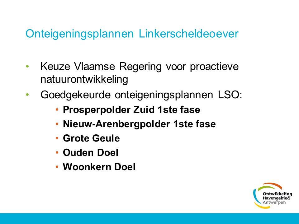 Onteigeningsplannen Linkerscheldeoever Keuze Vlaamse Regering voor proactieve natuurontwikkeling Goedgekeurde onteigeningsplannen LSO: Prosperpolder Z