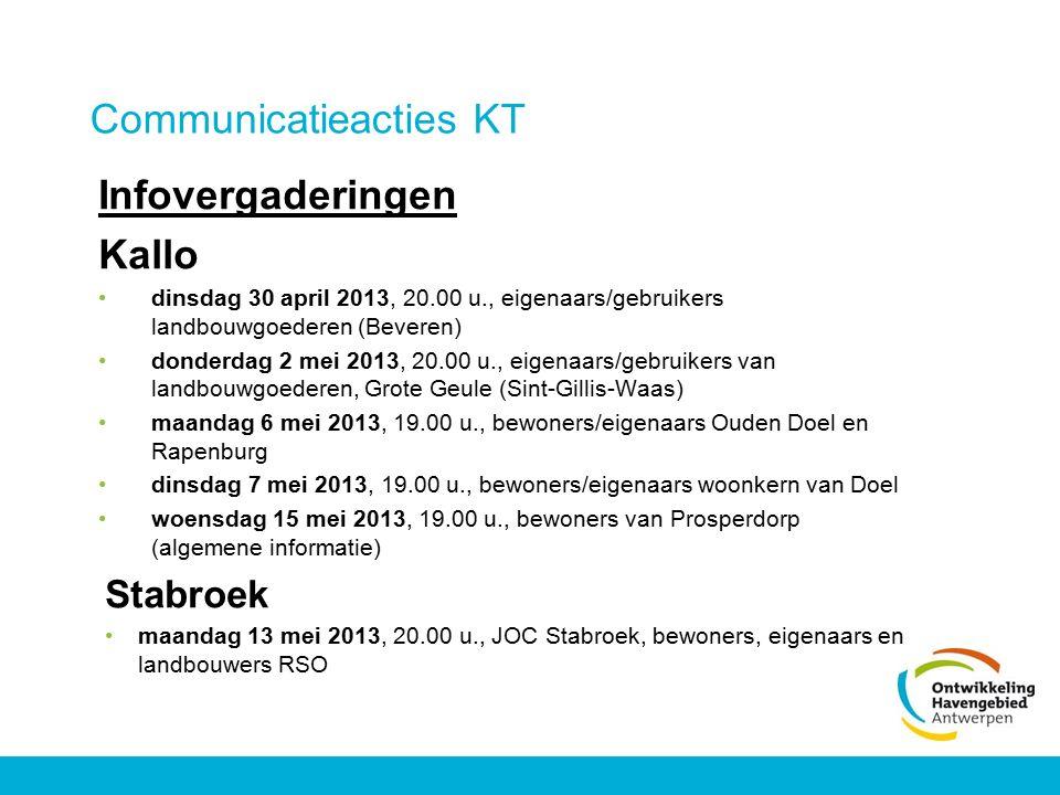 Communicatieacties KT Infovergaderingen Kallo dinsdag 30 april 2013, 20.00 u., eigenaars/gebruikers landbouwgoederen (Beveren) donderdag 2 mei 2013, 2