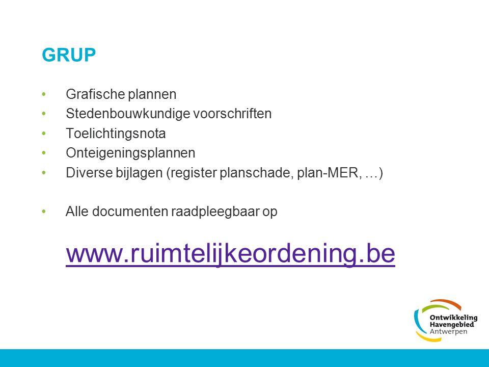 GRUP Grafische plannen Stedenbouwkundige voorschriften Toelichtingsnota Onteigeningsplannen Diverse bijlagen (register planschade, plan-MER, …) Alle d