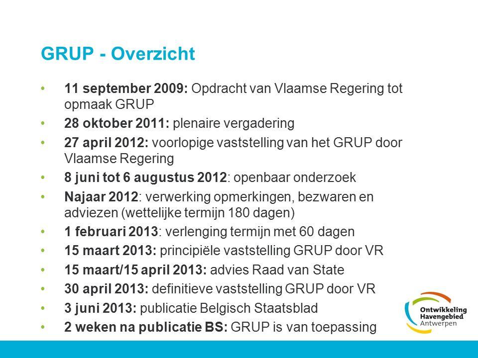 GRUP - Overzicht 11 september 2009: Opdracht van Vlaamse Regering tot opmaak GRUP 28 oktober 2011: plenaire vergadering 27 april 2012: voorlopige vast