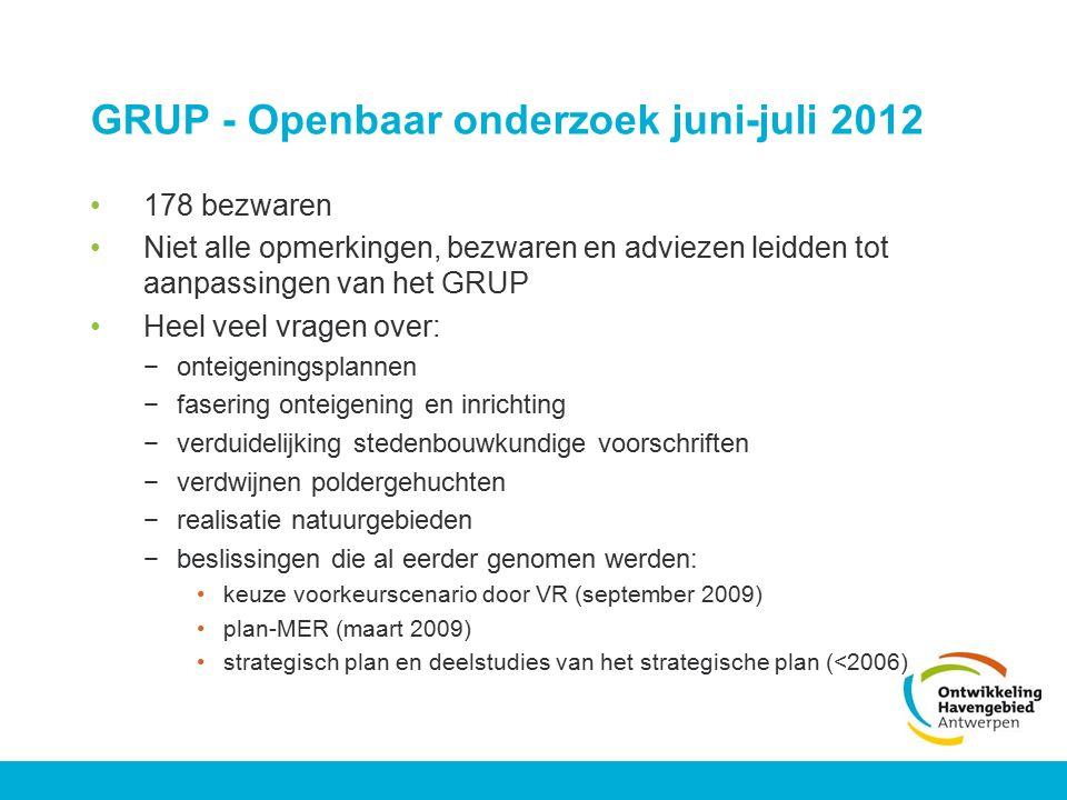 GRUP - Openbaar onderzoek juni-juli 2012 178 bezwaren Niet alle opmerkingen, bezwaren en adviezen leidden tot aanpassingen van het GRUP Heel veel vrag