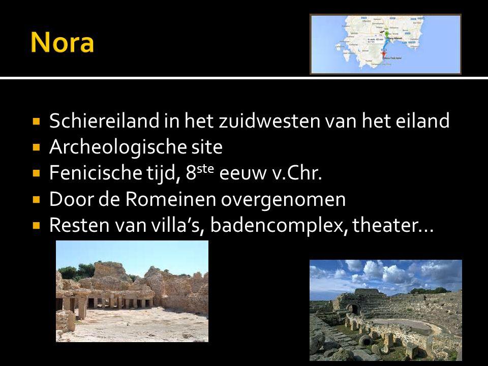  Schiereiland in het zuidwesten van het eiland  Archeologische site  Fenicische tijd, 8 ste eeuw v.Chr.  Door de Romeinen overgenomen  Resten van