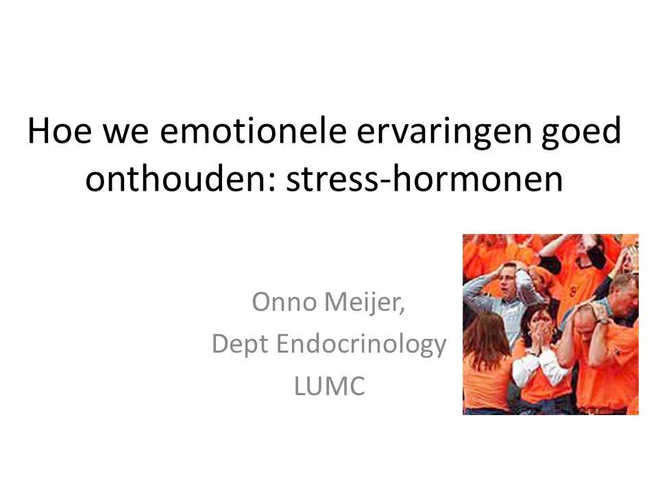 Conclusies Cortisol wordt afgegeven bij stress Versterkt consolidatie van geheugen rondom de stressor Werking via de GR in hippocampus Moleculaire mechanismes: wordt vervolgd…