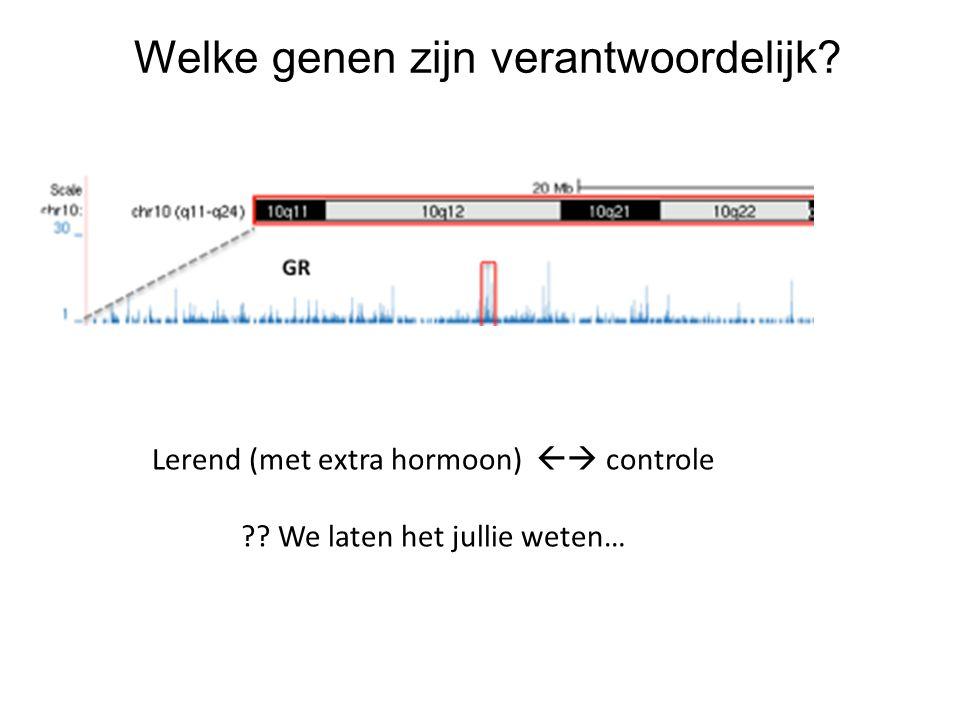 Welke genen zijn verantwoordelijk? Lerend (met extra hormoon)  controle ?? We laten het jullie weten…