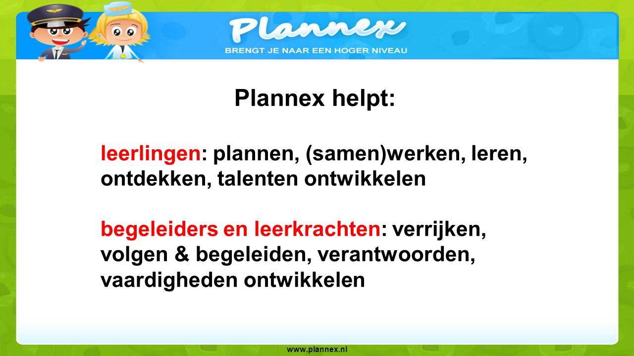 www.plannex.nl Plannex biedt organisaties: een integrale oplossing voor groep 1-8 met 100-den Bloomprojecten (dus ook vaardighedenonderwijs) toevoegen en werken met 'eigen' projecten een 100% webbased leerplatform 5 jaar ervaring, trouwe klanten (ook bovenschools) en direct contact talentleren, vaardigheden- en verrijkingsonderwijs, begeleide pilots