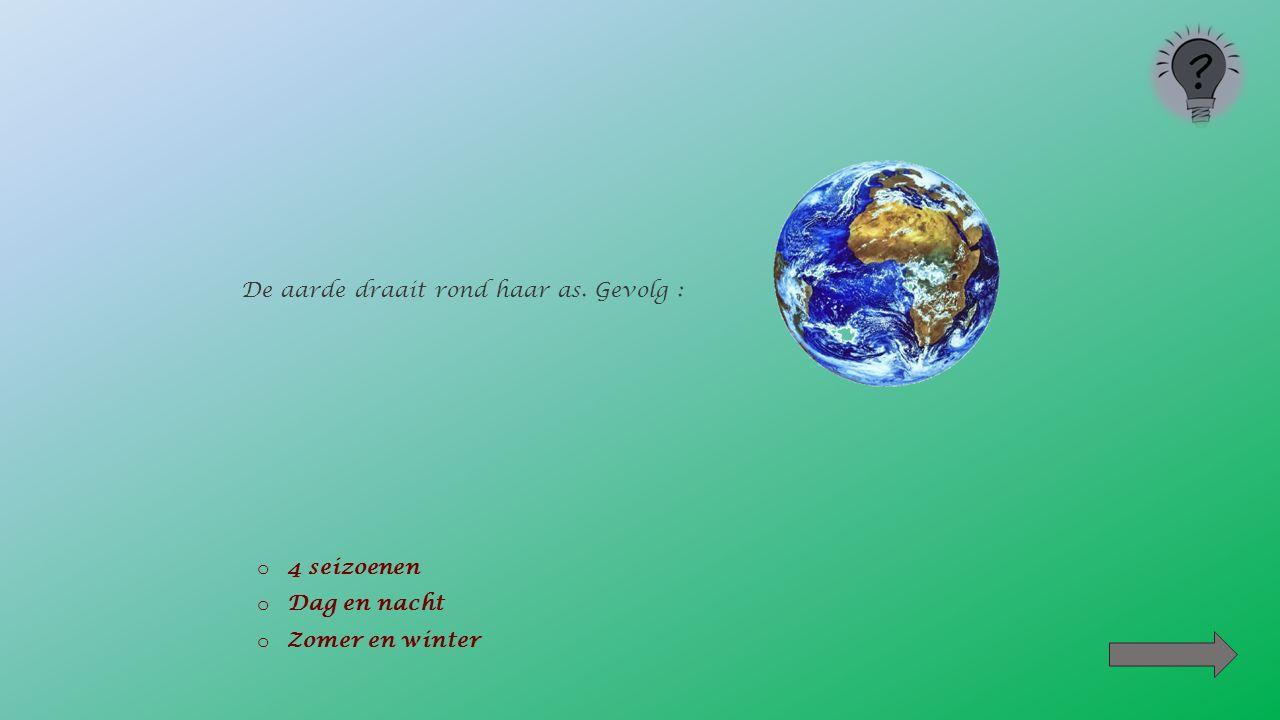 Naast het rondje om haar as maakt de aarde ook een grote omwenteling om : o De zon o De maan o De sterren