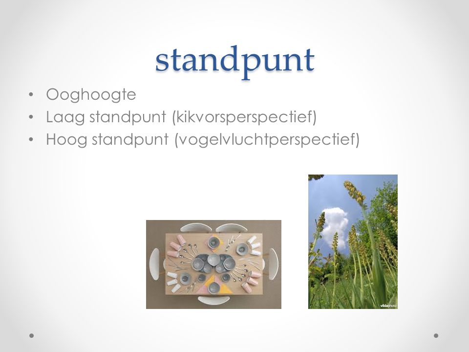 standpunt Ooghoogte Laag standpunt (kikvorsperspectief) Hoog standpunt (vogelvluchtperspectief)