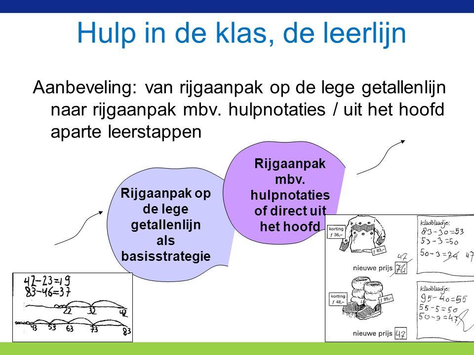 Hulp in de klas, de leerlijn Aanbeveling: van rijgaanpak op de lege getallenlijn naar rijgaanpak mbv.