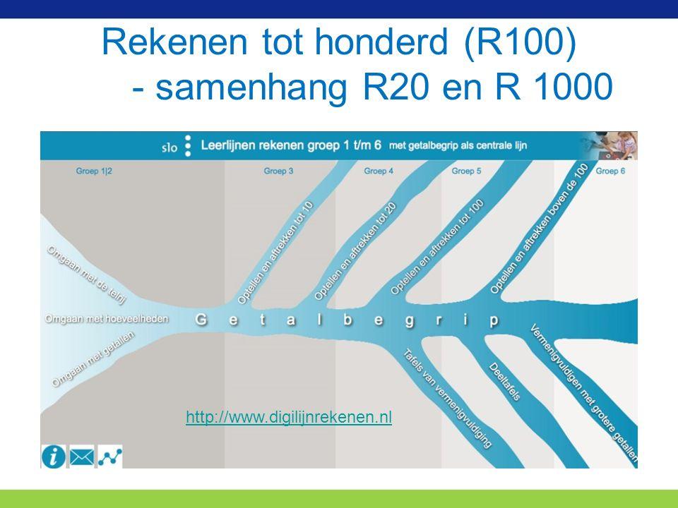 Rekenen tot honderd (R100) - samenhang R20 en R 1000 http://www.digilijnrekenen.nl