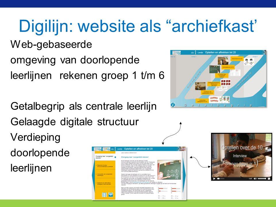 Digilijn: website als archiefkast' Web-gebaseerde omgeving van doorlopende leerlijnen rekenen groep 1 t/m 6 Getalbegrip als centrale leerlijn Gelaagde digitale structuur Verdieping doorlopende leerlijnen