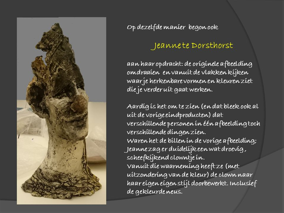 Op dezelfde manier begon ook Jeanne te Dorsthorst aan haar opdracht: de originele afbeelding omdraaien en vanuit de vlakken kijken waar je herkenbare vormen en kleuren ziet die je verder uit gaat werken.